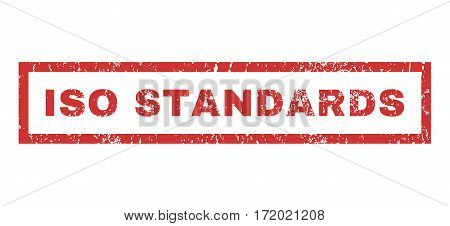 ISO Standards text rubber seal stamp watermark. Tag inside rectangular banner with grunge design and unclean texture. Horizontal vector red ink emblem on a white background.