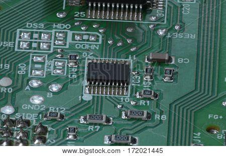 Electronic micro circuit PCB board macro shot