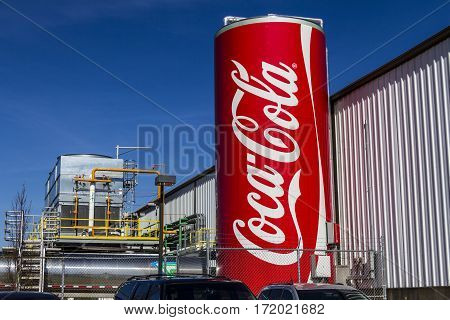 Indianapolis - Circa February 2017: Giant Can Of Coca Cola Adorns The Bottling Plant. Coke Products