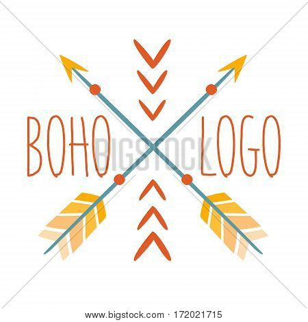 Ethnic Logo Boho Style Element, Hipster Fashion Design Template In Blue, Yellow And Red Color With Crossed Arrows. Trendy Stylish Printable Poster With Native American Inspiration And Spiritual Text.