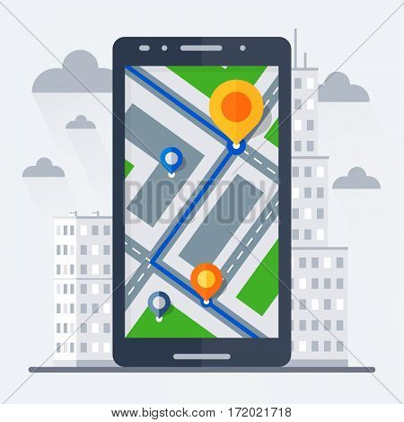 Phone with mobile gps navigation. City on the background. Flat vector illustration.