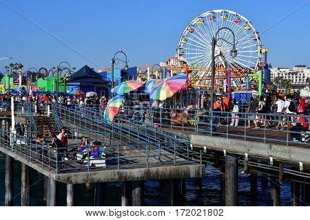 Santa Monica California USA - july 15 2016 : the picturesque pier in summer