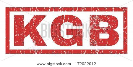 KGB text rubber seal stamp watermark. Caption inside rectangular banner with grunge design and dust texture. Horizontal vector red ink sign on a white background.