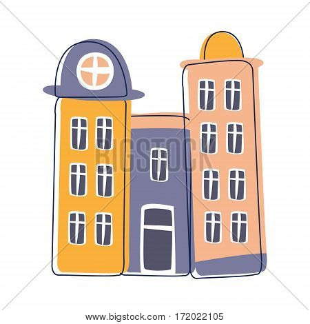 Tall Condominium Building In Blue And Pink Color, Cute Fairy Tale City Landscape Element Outlined Cartoon Illustration. Fantasy Town Cityscape Architectural Object In Childish Design.