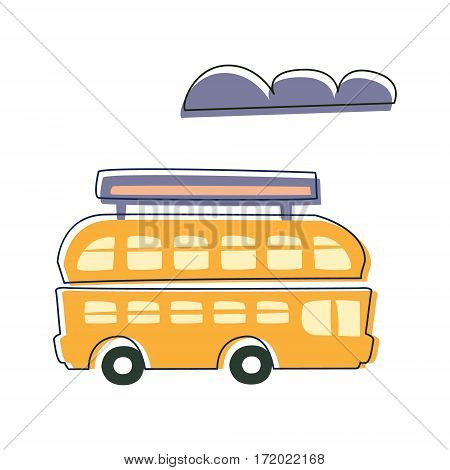 Double Decked Public Transport Yellow Bus, Cute Fairy Tale City Landscape Element Outlined Cartoon Illustration. Fantasy Town Cityscape Transportation Object In Childish Design.