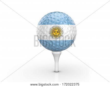 Golf Ball Argentina Flag 3D Illustration