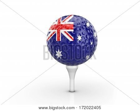Golf Ball Australia Flag 3D Illustration