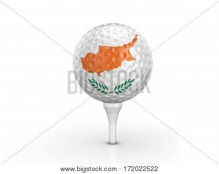 Golf Ball Cyprus Flag 3D Illustration