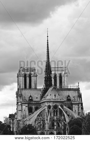 Paris - Circa May 2010: Black And White Photo Of Notre Dame De Paris On A Cloudy Day I