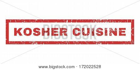 Kosher Cuisine text rubber seal stamp watermark. Caption inside rectangular shape with grunge design and dust texture. Horizontal vector red ink sign on a white background.