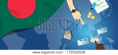 Bangladesh Daka economy fiscal money trade concept illustration of financial banking budget with flag map and currency vector