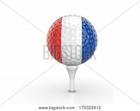 Golf Ball France Flag 3D Illustration