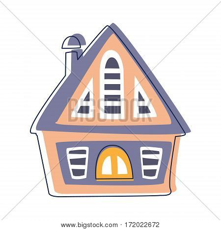 Small Wooden Hut In Blue And Pink Color, Cute Fairy Tale City Landscape Element Outlined Cartoon Illustration. Fantasy Town Cityscape Architectural Object In Childish Design.