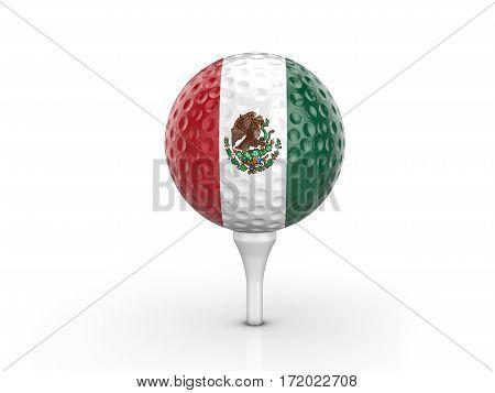 Golf Ball Mexico Flag 3D Illustration