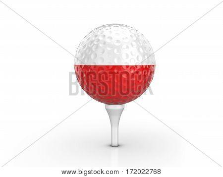 Golf Ball Poland Flag 3D Illustration