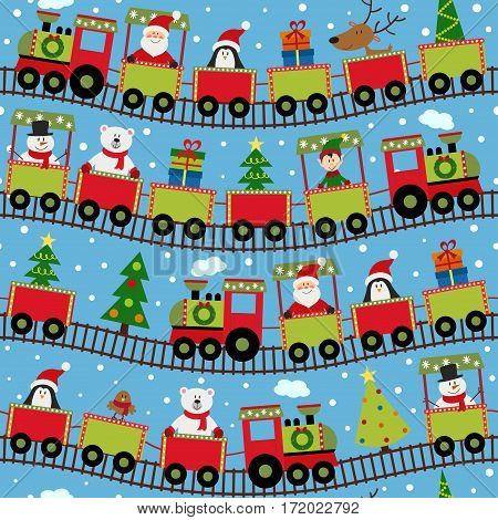 seamless pattern train with Christmas characters - vector illustration, eps