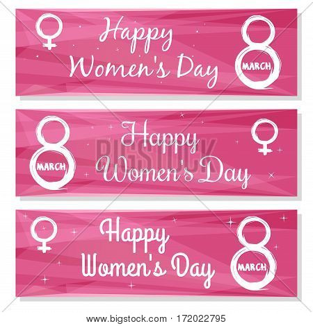 Set pink background with congratulations Women's Day. Happy Women's Day. Greeting Cards. Vector banners set to celebrate the 8th March