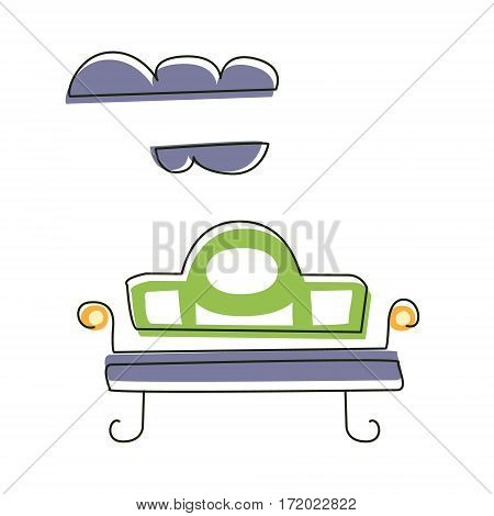 Park Outdoors Bench, Cute Fairy Tale City Landscape Ele. Fantasy Town Cityscape Architectural Object In Childish Design.ment Outlined Cartoon Illustration
