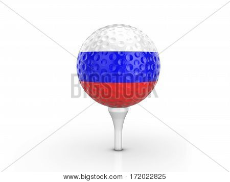 Golf Ball Russia Flag 3D Illustration