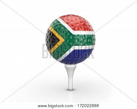 Golf Ball South Africa Flag 3D Illustration
