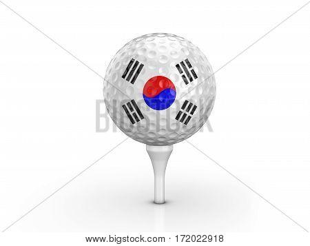 Golf Ball South Korea Flag 3D Illustration