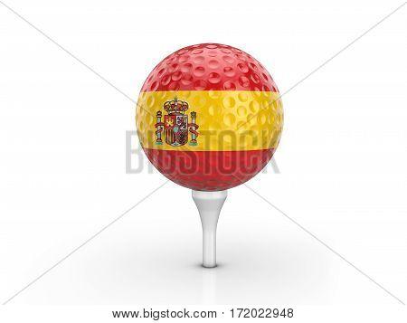 Golf Ball Spain Flag 3D Illustration