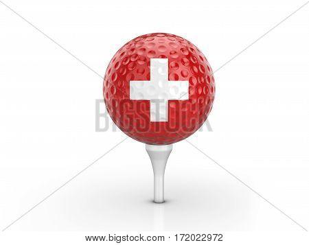 Golf Ball Switzerland Flag 3D Illustration