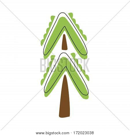 Outdoor Decorative Green Fir Tree, Cute Fairy Tale City Landscape Element Outlined Cartoon Illustration. Fantasy Town Cityscape Natural Object In Childish Design.
