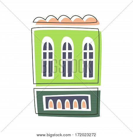 Simple Green Living House, Cute Fairy Tale City Landscape Element Outlined Cartoon Illustration. Fantasy Town Cityscape Architectural Object In Childish Design.