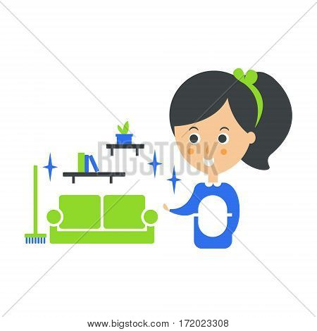 Cleanup Service Maid And Clean Living Room, Cleaning Company Infographic Illustration. Professional Cleaner And Her Work Flat Icon In Green And Blue Color.