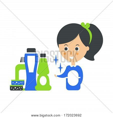 Cleanup Service Maid And Set Of Household Chemistry Products, Cleaning Company Infographic Illustration. Professional Cleaner And Her Work Flat Icon In Green And Blue Color.