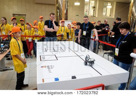 Tyumen Russia - February 16. 2017: Open championship of professional skill among youth. World skills Russia Tyumen - 2017. Competitions of robots among school students