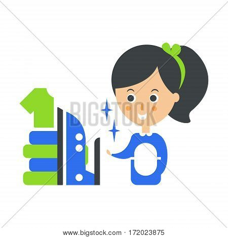 Cleanup Service Maid, Iron And Ironed Laundry, Cleaning Company Infographic Illustration. Professional Cleaner And Her Work Flat Icon In Green And Blue Color.