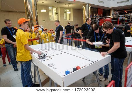Tyumen Russia - February 16. 2017: Open championship of professional skill among youth. World skills Russia Tyumen - 2017. Competitions of robots among school students