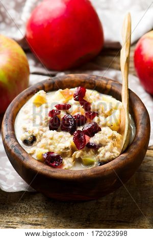 overnight oats with apples cranberrie and cinnamon.selective focus