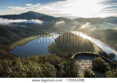 Alagon River Meander viewpoint at sunrise. This place is called The Melero and is not far from Riomalo de Abajo Hurdes Spain