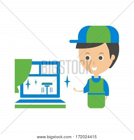 Cleanup Service Worker And Clean Window, Cleaning Company Infographic Illustration. Professional Cleaner And Her Work Flat Icon In Green And Blue Color.