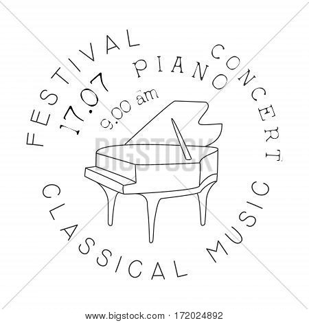 Classical Live Music Concert Black And White Poster With Calligraphic Text And Piano. Musical Show Event Promo Monochrome Vector Typographic Print Template.
