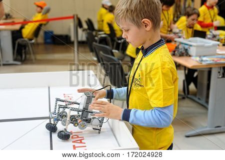 Tyumen Russia - February 17 2017: Open championship of professional skill among youth. World skills Russia Tyumen - 2017. Competitions of robots among school students
