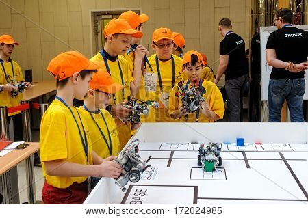 Tyumen Russia - February 17 2017: Open championship of professional skill among youth World skills Russia Tyumen - 2017. Competitions of robots among school students