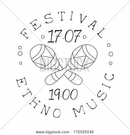Ethnic Live Music Concert Black And White Poster With Calligraphic Text And Crossed Maracas. Musical Show Event Promo Monochrome Vector Typographic Print Template.