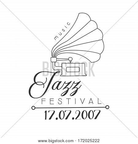Jazz Live Music Concert Black And White Poster With Calligraphic Text And Phonograph. Musical Show Event Promo Monochrome Vector Typographic Print Template.