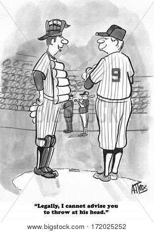 Baseball and legal cartoon about a catcher providing guidance to the pitcher.
