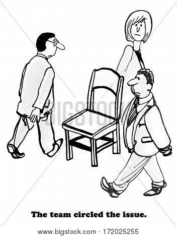 Business cartoon showing three businesspeople circling a chair.