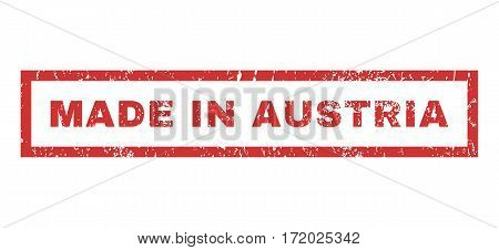 Made In Austria text rubber seal stamp watermark. Caption inside rectangular shape with grunge design and dust texture. Horizontal vector red ink emblem on a white background.