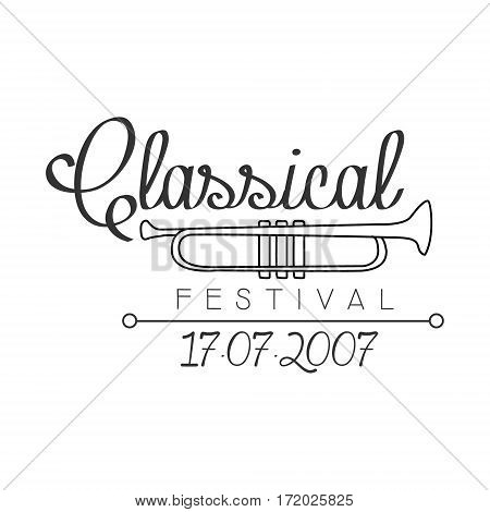 Classical Live Music Festival Concert Black And White Poster With Calligraphic Text And Trumpet. Musical Show Event Promo Monochrome Vector Typographic Print Template.