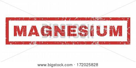 Magnesium text rubber seal stamp watermark. Tag inside rectangular shape with grunge design and dirty texture. Horizontal vector red ink sticker on a white background.