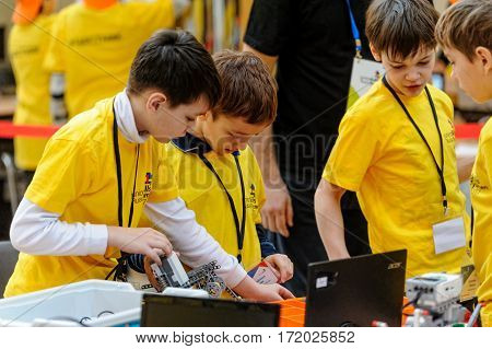 Tyumen Russia - February 17. 2017: Open championship of professional skill among youth. World skills Russia Tyumen - 2017. Competitions of robots among school students