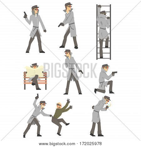 Police Detective And Private Investigator At Work Investigating And Solving Crimes Set Of Situations. Professional Sleuth In Long Coat And Hat Cartoon Character Searching For Clues.