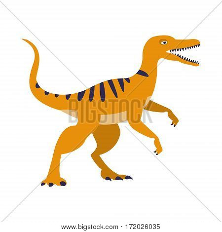 Orange Raptor Dinosaur Of Jurassic Period, Prehistoric Extinct Giant Reptile Cartoon Realistic Animal. Simplified Dinosaur Species Vector Illustration With Recognizable Details Of Ancient Fauna.